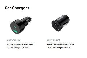Aukey Canada Car Chargers
